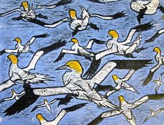 Noss Gannets  Woodcut 2007   Howard Towll  Based on Sketches of hang gliding gannets drawn on Noss this past summer.