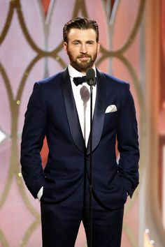 Presenter Chris Evans was dapper onstage at the 73rd Annual Golden Globe Awards!