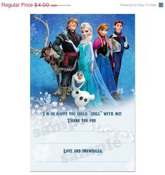 40% OFF SALE INSTANT Download Digital frozen Printable Birthday party thank you card