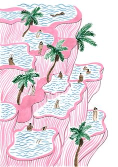 Pamukkale Art Print by Isabelle Feliu | Society6 . Hot sprints bathing in the summer time. #afflink