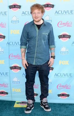 Ed Sheeran wearing Air Jordan III 3 Retro Black Cement Love Now, My Love, Teen Choice Awards 2013, Ed Sheeran Love, Celebrity Sneakers, Air Jordan Iii, Marilyn Monroe Quotes, Celebrity Gallery, Chor