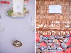 River stone place cards   Real SoMd Wedding: Casual Waterside Wedding   Southern Maryland Weddings   Photos by Amanda McMahon Photography #somdweddings #beachwedding #pinkwedding