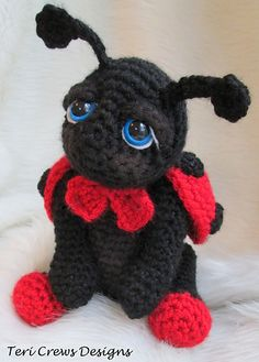 Make this sweet ladybug in time for Summer. Made with worsted weight yarn, basic crochet stitches and a size G crochet hook. Your finished ladybug will be approx. 9 inches tall from the top of her head to the bottom of her feet. You will need to know how to crochet in the round to finish your ladybug. Other supplies needed include one pair of size 15 mm safety eyes, fiberfill and a tapestry needle.
