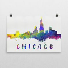 **MADE IN THE USA** You'll love this amazing Chicago skyline art! This Chicago skyline canvas shows the beautiful watercolor skyline of Chicago. This will fit any decor, and also make great gifts. If