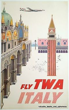 David Klein TWA ITALY Venice Fine Original Vintage Airline Travel Poster LINEN