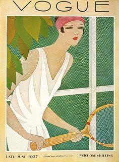 Vogue UK Cover - June 1927 - Art Deco fashion illustration by Harriet Meserole - Condé Nast Publications