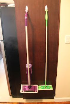 Use Command Hooks to hang your Swiffer mop. Genius! I could do this to the inside of one of the pantry doors and put baskets on the inside of the other!