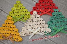 Best 12 Crochet tree, for Christmas decorations, set of 6 tree decorations, wonderful for your Christmas tree. If you want they can be - Her Crochet Crochet Christmas Decorations, Christmas Crochet Patterns, Crochet Christmas Ornaments, Christmas Tree Crafts, Holiday Crochet, Tree Decorations, Crochet Tree, Crochet Santa, Crochet Motif