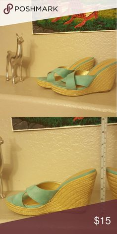 Teal strap criss cross wedges Perfect for summer. Never worn. city classified Shoes Wedges
