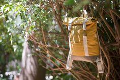 Rolltop backpack. Mustard yellow lightweight cotton canvas.