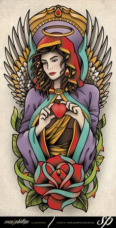 half-sleeve-angel-tattoo-flash.jpg (459×900)