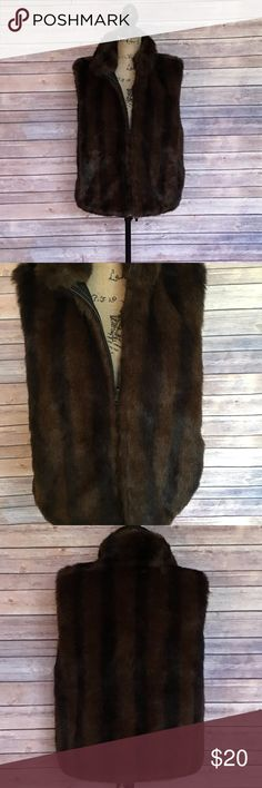 Coaco New York Faux fur Vest Reversible Size Large Coaco Black and brown faux fur vest reversible to black side In like new condition. No signs of wear or fading. Coaco New York Jackets & Coats Vests