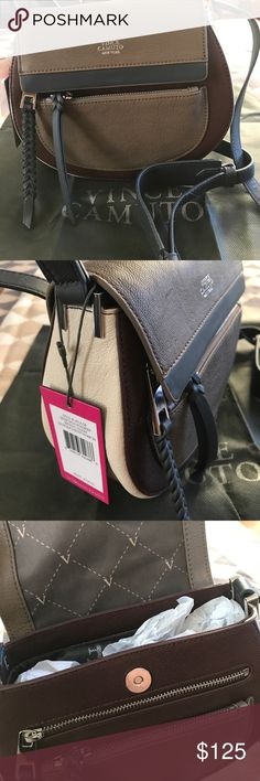 Vince Camuto Bag Nice and comfortable crossbody bag. Four colors: tan, burgundy, beige and blue. Perfect size to carry all needed accessories. New. Vince Camuto Bags Crossbody Bags