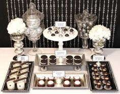 Black & White & Glamorous Sweets Table - Celebrations at Home