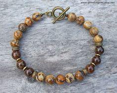 Picture Jasper and Brown Bronzite Mens Beaded Bracelet Mens #men'sjewelry