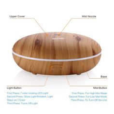 350ml Housmile Essential Oil Diffuser Ultrasonic Humidifier Aromatherapy Diffuser ,modern wooden design.Easy cleaning and benefits for children and family to release stress and relief anxiety.DIY oil stylish recipes