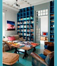 Amazing Bookshelves Design Ideas Living Room – Home Interior and Design Blue Bookshelves, Blue Shelves, Painted Bookshelves, Bookshelf Wall, Library Shelves, Library Wall, Dream Library, Library Ideas, Library Ladder