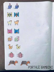 Cornicette per Bambini e per la Scuola Primaria | Portale Bambini Graph Paper Drawings, Graph Paper Art, Custom Woodworking, Woodworking Projects Plans, Drawing For Kids, Art For Kids, Symmetry Worksheets, Blackwork Patterns, Kids Wood