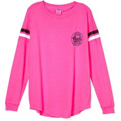 PINK Open Back Varsity Crew ($39) ❤ liked on Polyvore featuring tops, shirts, crew neck top, oversized tops, pink top, cotton shirts and pink shirt