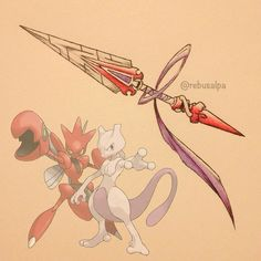 Instagram media by rebusalpa - Pokeapon Fusion - Mewtwo & Scizor. Requested by @kingkeelay.