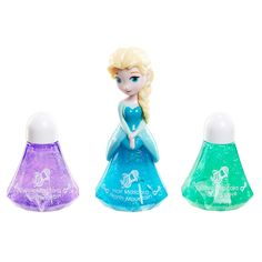 New innovation in makeup play. Choose your favorite Frozen character and surprise, there's makeup inside. Choose from 4 unique makeup types including: Lipgloss, Body Glitter, Hair Mascara and Nail Polish. Characters include: Anna & Elsa in different outfits! <B>Each sold separately.</B><br><br>Each set includes 1 Princess and 2 refills. Collect them all!