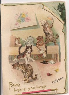 RARE Antique Christmas Card Louis Wain Cats Catland Paws Before You Leap   eBay