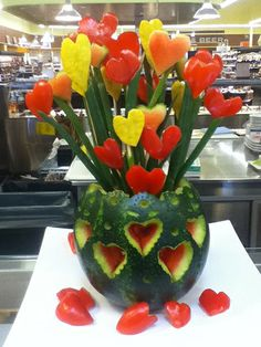 Valentine Bouquet by Laura P. Click to vote for your favorite #watermelon carving!