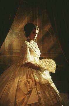 "Photograph of Kiri Te Kanawa in period costume for ""La Traviata,"" Sydney: 1978, photographed by Brian Brake, colour transparencies, colour slides."
