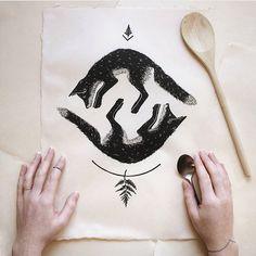 Hand-carved block prints by Lauren Crowe Looking Back, Printmaking, Hand Carved, Moose Art, Presents, Thankful, Carving, Hands, Ink