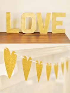 gold heart garland