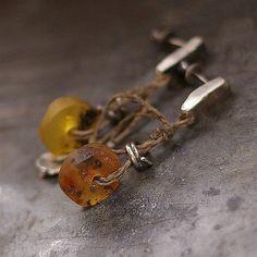 Baltic amber  linen earrings   sterling silver  stud by ewalompe