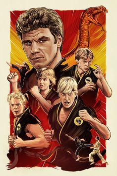 The Karate Kid - Cobra Kai (poster by Sam Gilbey) The Karate Kid 1984, Karate Kid Movie, Karate Kid Cobra Kai, Cobra Kai Dojo, Cinema Tv, Movie Poster Art, The Villain, Action Movies, Good Movies