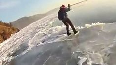 Ice Skier Plunges into Lake Baikal