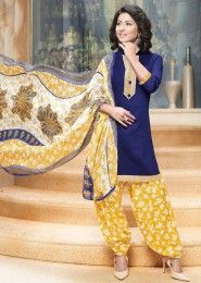 Casual Wear Neavy Blue Glace Cotton Lace Border Work Patiala Suit