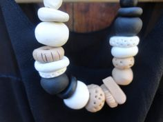 Black white and tan neutral tone polymer clay by emelymccord, $65.00