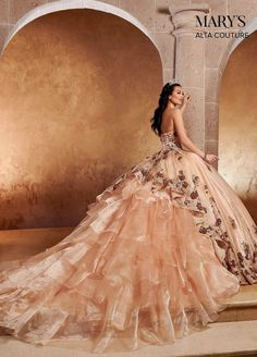Sequin Strapless Quinceanera Dress by Alta Couture MQ3052 Xv Dresses, Royal Dresses, Quince Dresses, Ball Dresses, Couture Dresses, Prom Dresses, Rose Gold Quinceanera Dresses, Yellow Wedding Dresses, Paris Quinceanera Theme