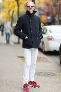 Moda de Calle, Navy Wool Peacoat, White Jeans, and Red Trainers. Men's Fall Winter Street Style Fashion.