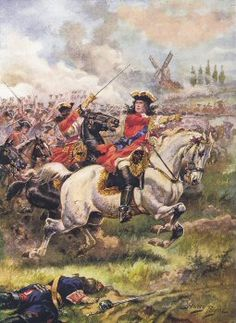 CHURCHILL: Marlborough Leading the Attack, Battle of Blenheim, 13 August 1704, by Harry Payne. Blenheim was a major battle of the War of the Spanish Succession.