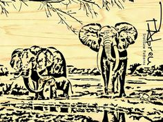 African Elephant Family  Scroll saw pattern by PabreuWoodworking, €10.00
