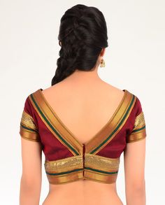 Maroon Red Blouse with Brocade Border - Exclusively In