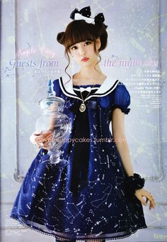 New constellation print series by Angelic Pretty - Cosmic KERA June issue oh my this is adorable! I feel like wearing thi...