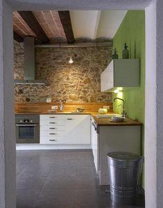 Mi cocina con paredes de piedras   Decorar tu casa es facilisimo.com