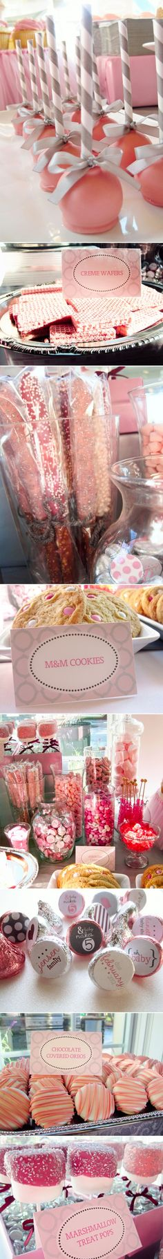 isn't this sweet? dessert bar in pink and grey (could do blue for a boy!) #BeautifulBabyShower