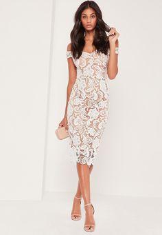 Missguided - Bardot Lace Midi Dress White
