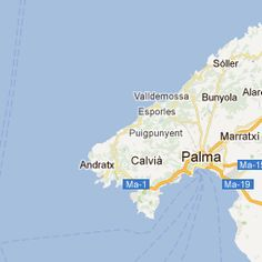 majorca map showing the city of palma and many of the popular