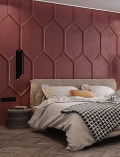 OM Architecture have designed an apartment in Kiev, Ukraine, that features a bold deep red accent wall in the bedroom. Moldings were used to create the pattern, while a single color helps to create a dramatic feature wall. Dusty Pink Bedroom, Pink Bedroom Walls, Pink Bedrooms, Accent Wall Bedroom, Bedroom Colors, Bedroom Decor, Feature Wall Bedroom, Bedroom Ideas, Blush Bedroom