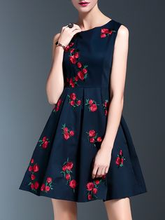 Shop Navy Flowers Embroidered A-Line Dress online. SheIn offers Navy Flowers  Embroidered A