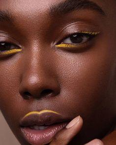 Hey guys I've currently been MIA working on a huge backlog of images from my re. Makeup Goals, Makeup Inspo, Makeup Art, Makeup Inspiration, Beauty Makeup, Black Girl Makeup, Girls Makeup, Yellow Makeup, Graphic Eyeliner