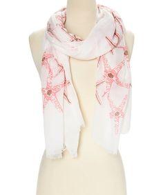 Love this White & Pink Starfish Scarf on #zulily! #zulilyfinds