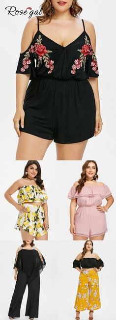 Free shipment worldwide, up to off, ROSEGAL plus size rompers and jumpsuits lovely print and stylish design summer chic outfits for curvy girl Summer Fashion Outfits, Curvy Outfits, Mode Outfits, Chic Outfits, Fashion Shorts, Dress Fashion, Curvy Fashion, Look Fashion, Girl Fashion